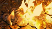 Bitcoins Burning In Fire - Value Concept