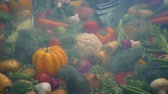 veg : Chilled Vapor Over Pile Of Vegetables Stock Footage