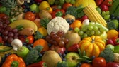 suplemento : Lots Of Fruits And Vegetables Stock Footage