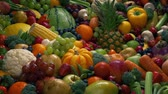 Healthy Diet Fruits And Vegetables Pile Stock Footage
