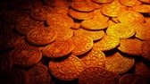 Medieval Gold Coins In Fire Light