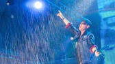 Клаус : DNIPROPETROVSK, UKRAINE - JULY 2013 - Scorpions performance in the pouring rain at the rock festival The Best City.UA Стоковые видеозаписи