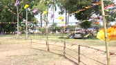Thai flags in the temple,Songkran Festival Day Стоковые видеозаписи