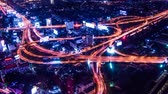 intersection : Timelapse of Bangkok Expressway and Highway top view , Thailand