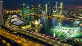 river : Hyperlapse of Singapore city skyline at night, Birdeyeview Timelapse