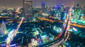 aerial : Bangkok Highway at Dusk with the light of traffic, Timelapse at Bangkok Thailand