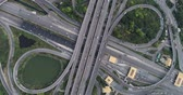 freeway interchange : Intersection highway city road infinity sign aerial view from drone