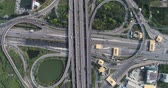freeway interchange : Intersection cross road with car movement aerial view, Transport concept Stock Footage