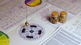гороскоп : Pendulum for astrological circles and astrological charts Стоковые видеозаписи