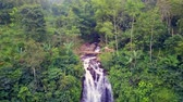 toaleta : aerial shot away and tilt down shot with drone above beautiful Bali paradise waterfall and jungle rainforest in Asia travel destination and summer vacations trip concept