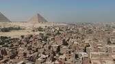 anıt : View of Great Pyramids of Giza near Cairo (Egypt)