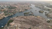 harikalar diyarı : View of Aswan (Egypt), Elephantine island and river Nile Stok Video