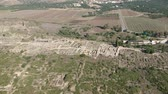 роман : Flying over Volubilis and a Berber and Roman city at Morocco