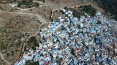 berber : Flying over Chefchaouen in Morocco with a drone from above (Aerial)