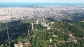 jesus : Drone over Temple of the Sacred Heart of Jesus and Tibidabo Amusement Park