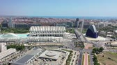 uav : Flying over Bridge and City of Arts and Sciences at Valencia and Spain with Drone