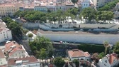 корабли : Flying over viewpoint and street with cars in Lisbon and Portugal