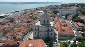 lisboa : Flying over Church of Santa Engracia (Panteon Nacional) at Lisbon and Portugal with Drone