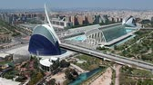 situação : Flying over City of Arts and Sciences at Valencia and Spain with Drone