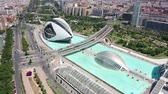Flying over Bridge and City of Arts and Sciences at Valencia and Spain with Drone