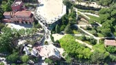 Flying Drone over Park Guell in City Barcelona | 4k Stock Footage