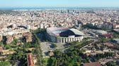 археология : Flying with Drone over Nou Football Stadium FC Barcelona Стоковые видеозаписи