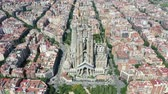 Flying Drone over Sagrada Familia at City Barcelona - Eixample District 4k