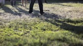 caminhões : Man steps barefoot on the grass Stock Footage