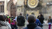 clock : group of tourists watch the Astronomical Clock