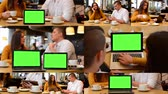 dispositivo : 4K MONTAGE (8 VIDEOS) - technology devices green screen - notebook and tablet - happy couple talk in cafe and working on devices