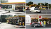 galão : 4K montage (compilation) - gas station (oil pump) Shell in the city - with cars and people.