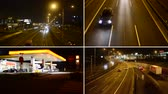 galão : PRAGUE CZECH REPUBLIC  JANUARY 16 2015: 4K montage compilation  gas station oil pump Shell in the city  with cars and people  night highway cars  lights  timelapse Vídeos