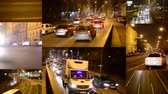 asphalt : PRAGUE CZECH REPUBLIC  FEBRUARY 1 2015: 4K montage compilation  night city  night street with cars  lamps  car headlight  timelapse