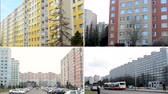 живая природа : CZECH REPUBLIC PRAGUE  FEBRUARY 4 2014: 4K compilation montage  housing estate high rise block of flats with nature and car park  people