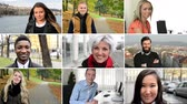female : 4K montage compilation  people smile to camera  street park office etc. Stock Footage
