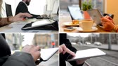 entrepreneur : 4K compilation (montage) - people work on tablet (closeup hands) - street, cafe and office Stock Footage