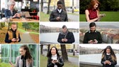 mobile phone : 4K compilation (montage) - multicultural people work on mobile phone - street, park, cafe etc.