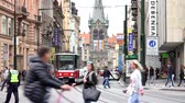 man elstv : PRAGUE, CZECH REPUBLIC - MAY 30, 2015: The city - Urban street with cars and trams - people walking Stock Footage