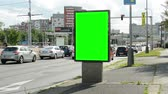 anlamlı : CZECH REPUBLIC, PRAGUE - JULY 8, 2015: The billboard stands by the road in the center of city - green screen