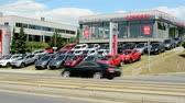kia : CZECH REPUBLIC, PRAGUE - JULY 10, 2015: The view of the large showroom in the city by the road - car exhibition