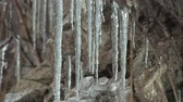 icicles : icicles on stone Stock Footage