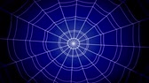complexidade : white concentric cobwebs jump sharply and stick on a blue background