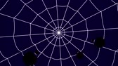 concentric cobwebs on a blue background, three spiders crawling towards the center