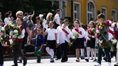 celebrações : Parade in Gabrovo 24 May 2017 Bulgaria celebrates the Bulgarian brothers St. St. Cyril and Methodius created the Cyrillic alphabet of Bulgarians, Russians, Ukrainians, Macedonians, Serbs and others. Stock Footage