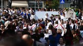 gratitude : Parade in Gabrovo 24 May 2017 Bulgaria celebrates the Bulgarian brothers St. St. Cyril and Methodius created the Cyrillic alphabet of Bulgarians, Russians, Ukrainians, Macedonians, Serbs and others. Stock Footage