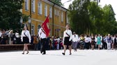 азбука : Parade in Gabrovo 24 May 2017 Bulgaria celebrates the Bulgarian brothers St. St. Cyril and Methodius created the Cyrillic alphabet of Bulgarians, Russians, Ukrainians, Macedonians, Serbs and others. Стоковые видеозаписи