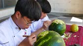 kavun : Gabrovo, Bulgaria, May 20 2018. International Carving Festival of Laughter. Different races and nationalities showed their skill in carving a watermelon. Stok Video