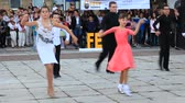 Gabrovo, Bulgaria, October 5, 2018. 6Fest Gabrovo 3 is held for the third time. Youth street festival. Children dance in the street.