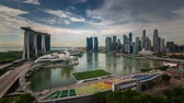 close up : singapore city bridge downtown hotel and museum view 4k time lapse Stock Footage