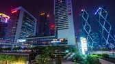 time : night high light shenzhen city office block 4k time lapse china Stock Footage